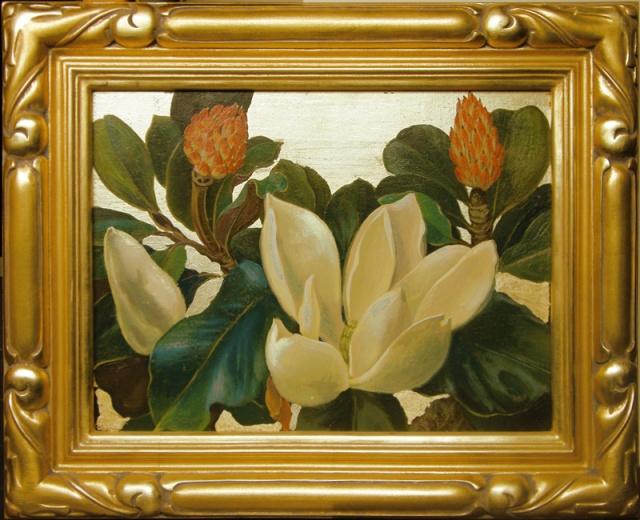 4.  Jessie Arms Botke  (American 1883-1971)  Magnolias No. 1