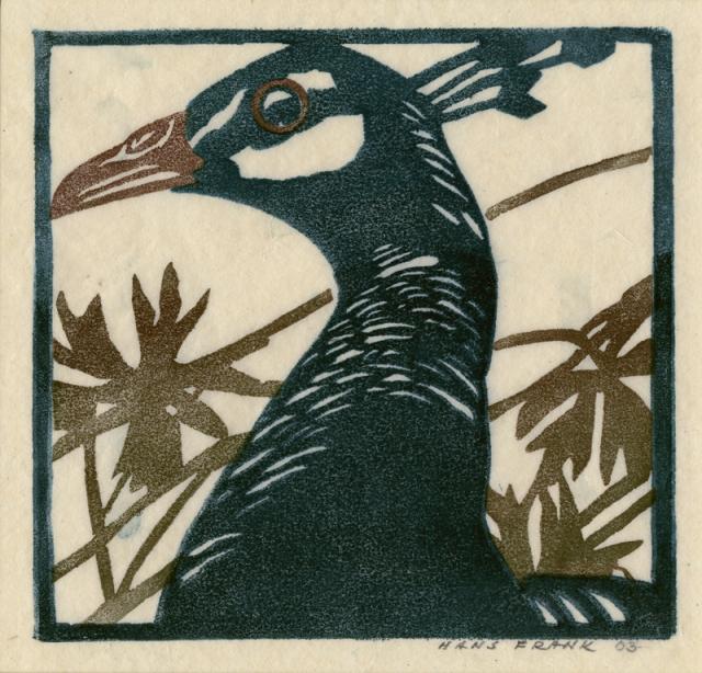 Hans Frank (Austrian 1884-1948)  Peahen, color block print, 1903