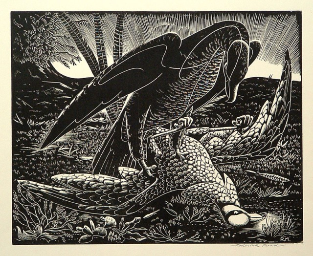 Roderick Mead (American 1900-1971)  Bird of Prey, wood engraving; 1950