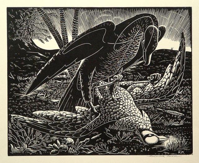 Roderick Mead (American 1900-1971)  Bird of Prey, wood engraving; 1950