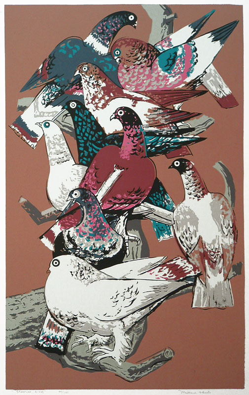 Millard Owen Sheets (American 1907-1989)  Startled Birds, color serigraph, about 1945
