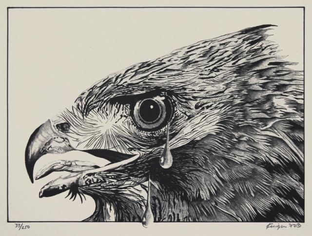 Michael Knigin  (American 1942-2011)  Golden Eagle, lithograph; 1977