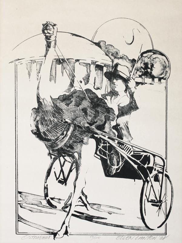 Ellen Lanyon (American 1926-2013)  Ostricart, lithograph, 1968
