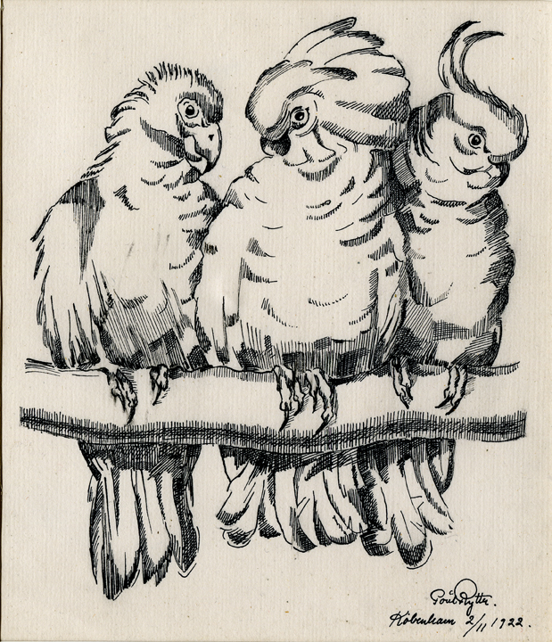 Poul Rytter (Danish 1895-1965)  Parrots, ink drawing, 1922