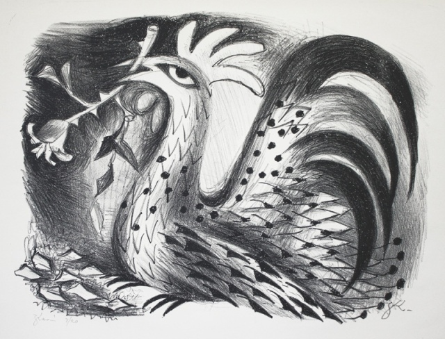 Zena Kavin (American 1912-2003) Rooster, lithograph, about 1935
