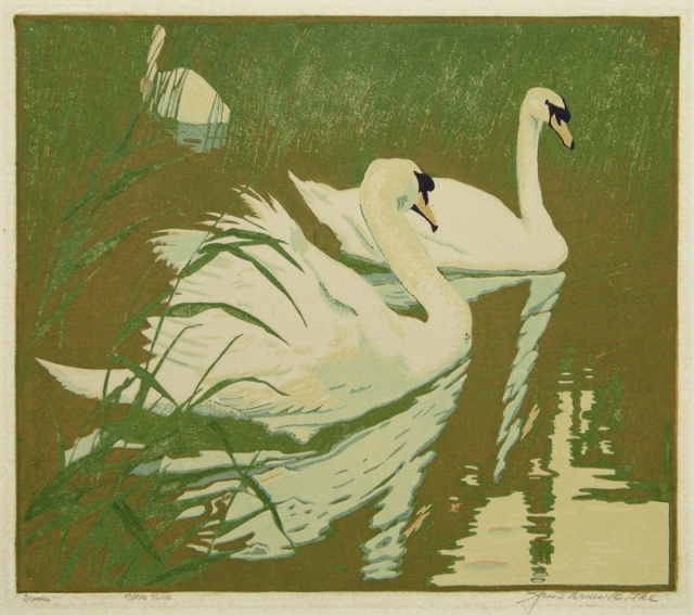 Jessie Arms Botke (American 1883-1971) Swans, color block print, about 1930