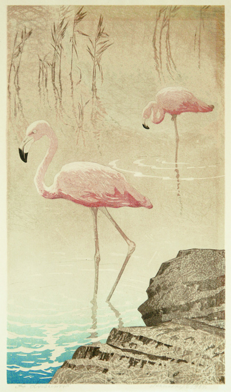 Aleksander Laszenko  (Polish 1883-1944)  The Wading Flamingos, color woodcut, 1934