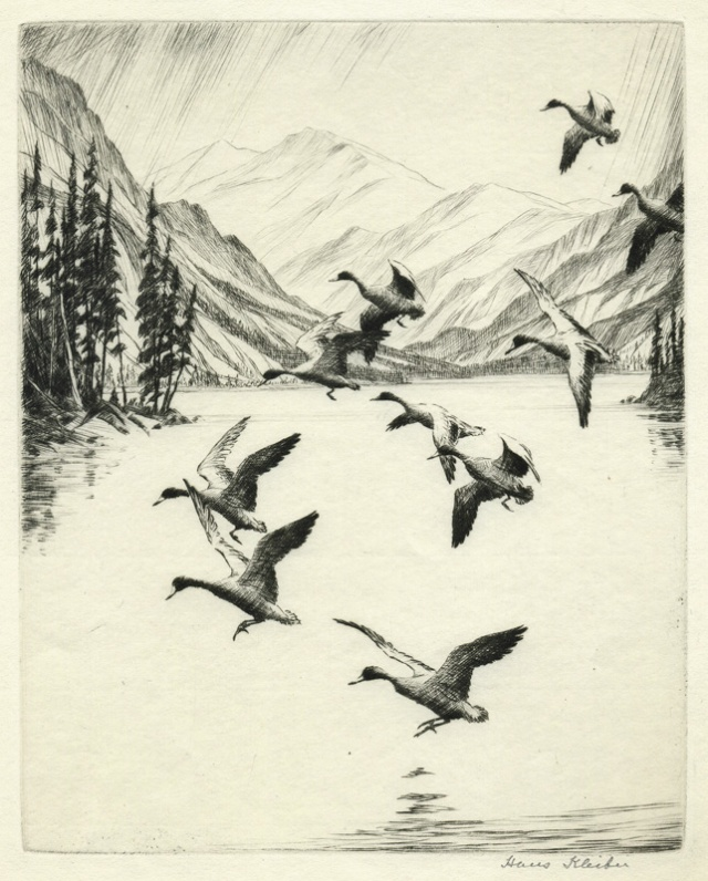 Hans Kleiber  (American 1887-1967) Flight of Ducks, drypoint, 1933