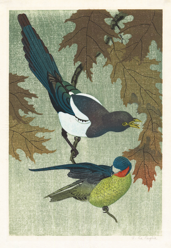 Anthony La Paglia (American 1897-1993)  (Two Birds on a Branch); color woodcut; about 1930