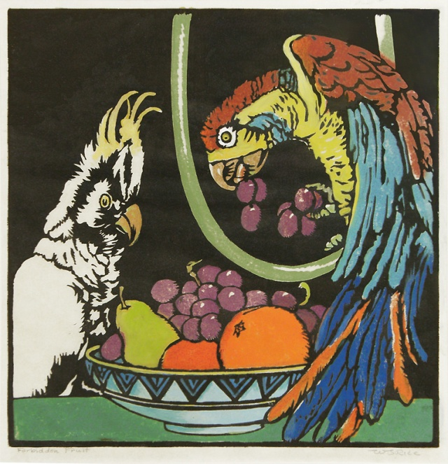 William Seltzer Rice (American 1873-1963)  Forbidden Fruit, color woodcut, about 1915