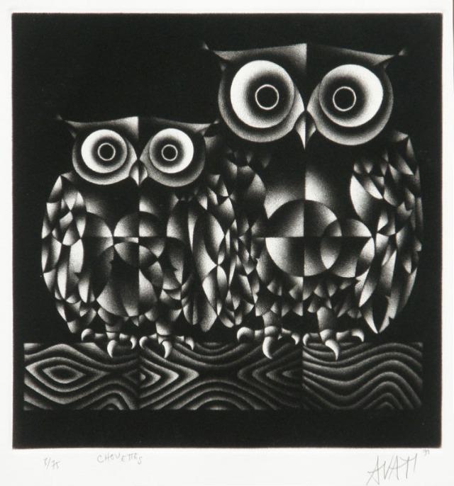Mario Avati (French 1921-2009) Chouettes, mezzotint, 1971
